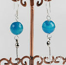 Wholesale dangling style 12mm faceted blue agate sea shell beads earrings