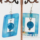 Wholesale party jewerly chunky style blue agate earrings