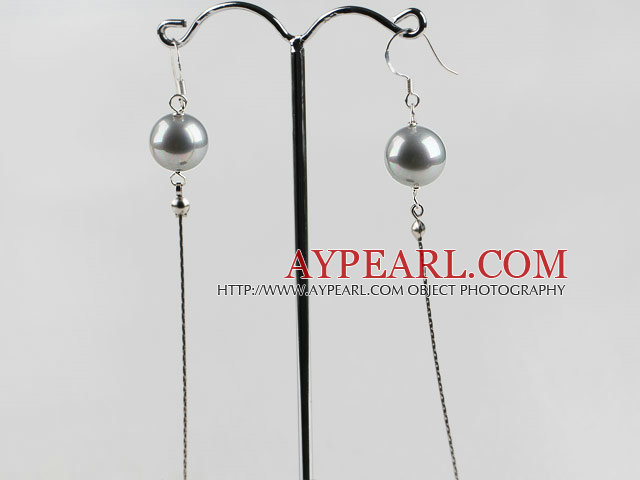 dangling style 12mm gray sea shell beads earrings