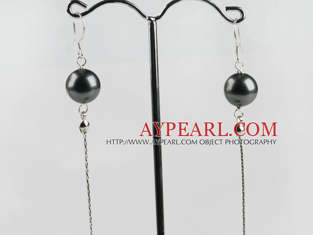dangling style 12mm black sea shell beads earrings