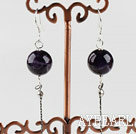 Wholesale dangling style 12mm natural amethyst ball earrings