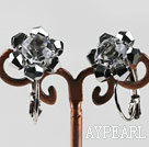 Gorgeous Sparkly Black Faceted Crystal Flower Earrings With Large Ear Hoops