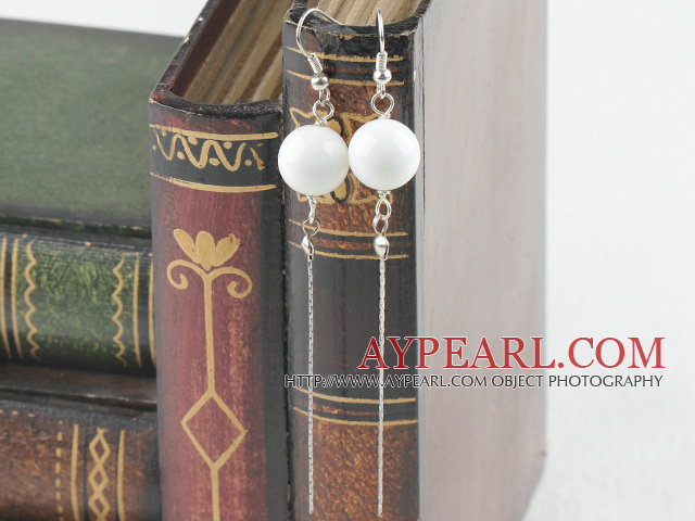 dangling style 12mm white sea shell ball earrings
