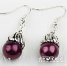 Simple Style Dark Purple Color Shell Beads Earrings