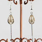 Wholesale dangling style drop shape champagne color crystal earrings