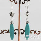 leaf shape turquoise earrings with tibet silver flower charm