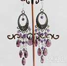 chandelier shape vintage style amethyst earrings