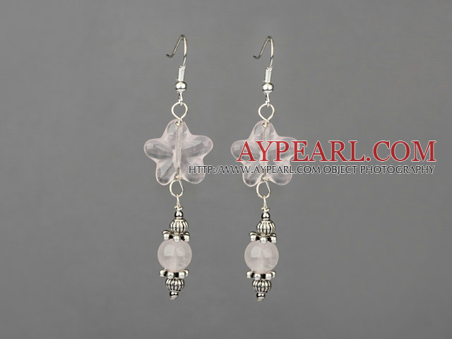 Elegant Star And Round Shape Rose Quartz And Metal Charm Dangle Earrings With Fish Hook