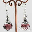 10*14mm faceted wine red crystal earrings with tibet silver charm
