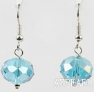 12mm faceted blue crystal earrings