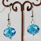 Wholesale 12mm faceted sea blue blue crystal earrings