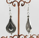 Vogue Jewelry Ccb Silver Like Teardrop Metal Charm Dangle Earrings With Fish Hook
