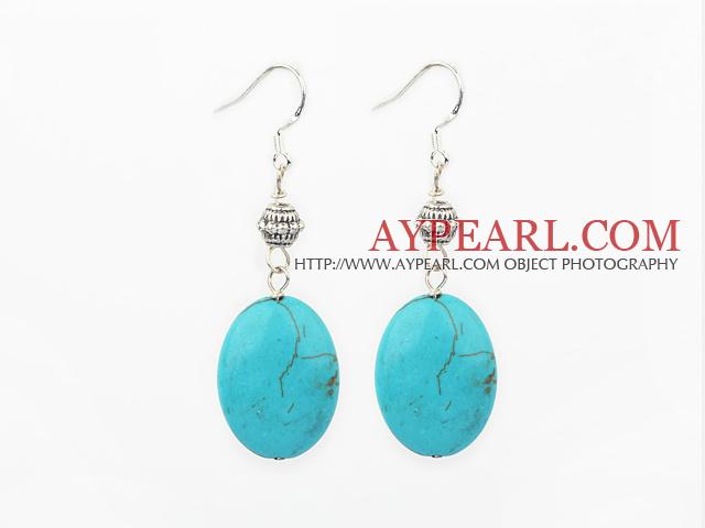 Fasihon Blue Oval Egg Shape Turquoise Dangle Earrings With Metal Charm Fish Hook