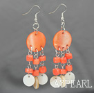 Wholesale New Design Pink Coral and Shell Dangle Earrings