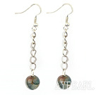Simple Long Chain Loop Style Round Blue Agate Ball Drop Earrings With Fish Hook