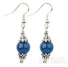 Simple Style Round Blue Agate And Silver Metal Bead Cap Charm Dangle Earrings