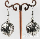CCB silver like ball earrings with engraved print
