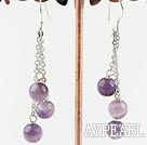 Wholesale natural amethyst ball earrings