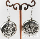 Wholesale CCB silver like earrings with engraved print