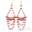 Wholesale Big style red manmade crystal earrings
