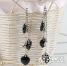 Wholesale 3 strand heart shape black agate dangle long earrings