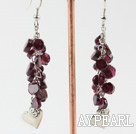 Wholesale flat round garnet and heart accessories dangle long earrings