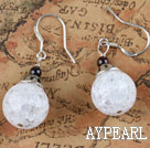 small cute white popcorn crystal earrings