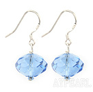 Simple Manmade Blue Crystal Ball Dangle Earrings With Fish Hook