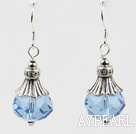 pretty light sea blue color crystal ball earrings