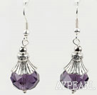 Wholesale pretty purple color crystal ball earrings