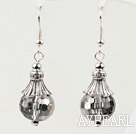 pretty shinning gray color crystal ball earrings 