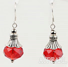 Wholesale pretty red pink crystal ball earrings