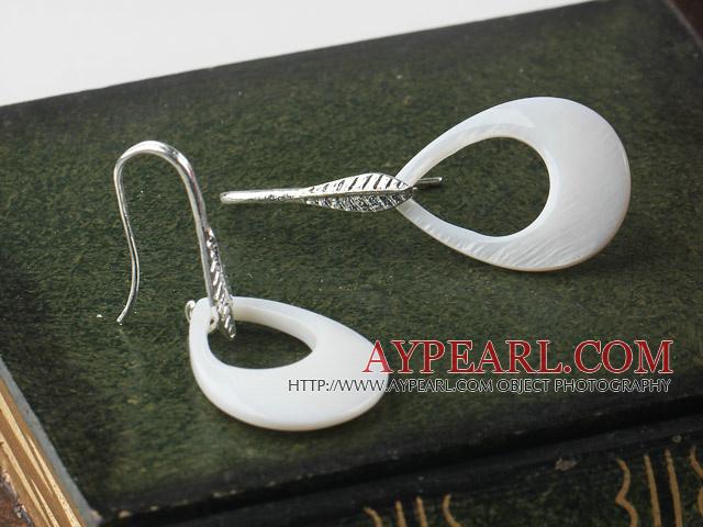 fashion style drop shape big white lip shell earrings