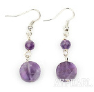 Fashion Natural Round Faceted And Caky Shape Amethyst Dangle Earrings With Fish Hook