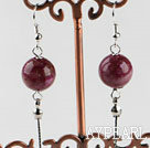 Wholesale dangling style 12mm faceted red spider stone ball earrings