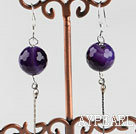 Wholesale dangling style 12mm faceted purple agate ball earrings