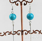 Wholesale dangling style 12mm blue turquoise ball earrings