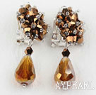 Big Style Amber Color Faceted Drop Crystal Clip Earrings