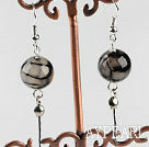 dangling style 12mm faceted serpentine agate ball earrings