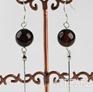 Wholesale dangling style 12mm faceted black agate ball earrings