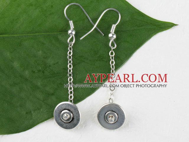 Beautiful Long Chain Loop Style 14Mm Alloyed Donut Charm Dangle Earrings