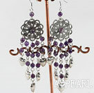 Wholesale classical style chandelier shape amethyst earrings with heart charm