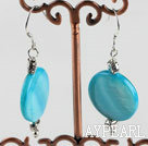 Simple Style 20Mm Blue Disc Shape Shell Dangle Earrings With Fish Hook