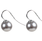 Classic Design Round Shape 10mm Light Gray Seashell Beads Earrings