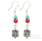 Lovely Short Style Round Blue Turquoise And Bloodstone Square Charm Earrings
