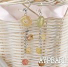 Wholesale dangling stlye three color jade earrings