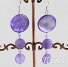 Wholesale cute style purple disc shape shell earrings