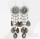 New Design Gray Crystal and Shell Long Style Earrings