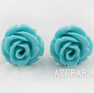 Elegant 8*10Mm Blue Turquoise Color Rose Flower Studs Earrings