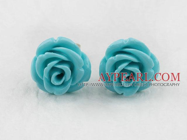 Elegant 8*10Mm Blue Turquoise Color Rose Flower Studs Earrings